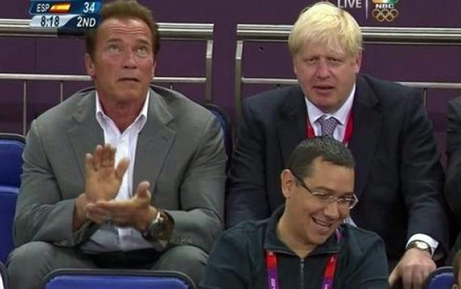 JO 2012: Victor Ponta a stat alături de Arnold Schwarzenegger la finala de baschet, SUA – Spania!