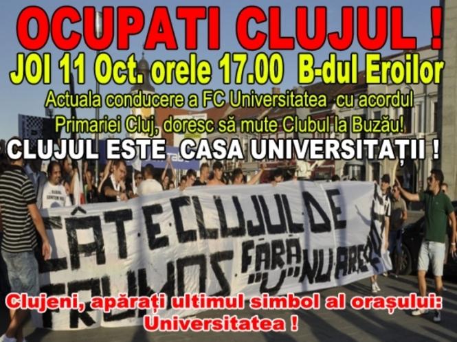 """Mesajul suporterilor universitari: """"Ocupaţi Clujul!"""""""