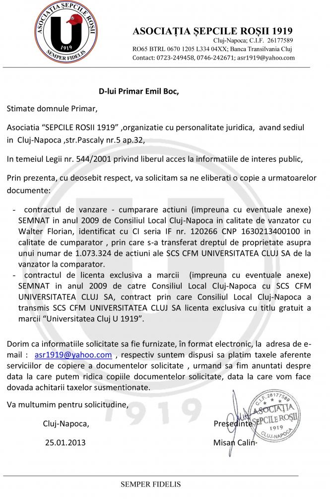 """Suporterii lui """"U"""" îi solicită lui Emil Boc contractele dintre Walter şi Primărie"""
