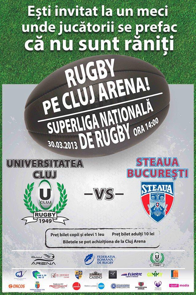 """Primul meci de rugby pe Cluj Arena. """"U"""" vs Steaua"""