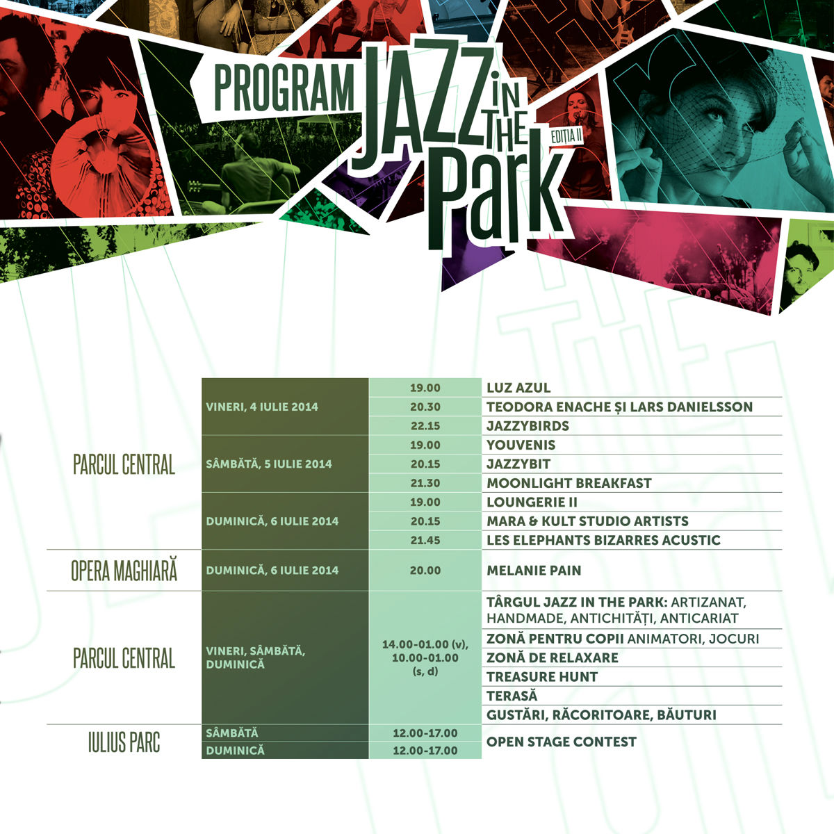 Programul oficial Jazz in the Park 2014