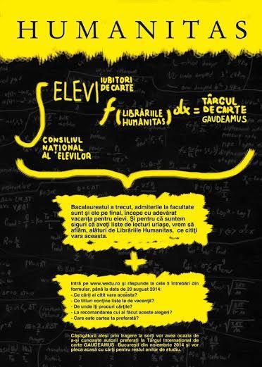 Campanie de atragere a tinerilor spre lectură inițiată de Librăriile Humanitas și Consiliul Național al Elevilor