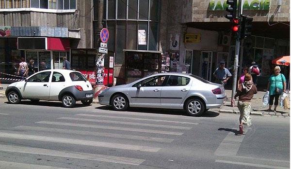 Si-a lasat masina parcata pe trecerea de pietoni in Marasti si dus a fost. FOTO