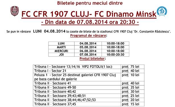 Pretul biletelor la meciul CFR – Dinamo Minsk, de joi, 7 august