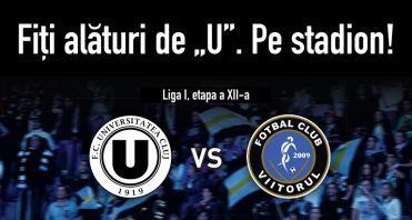 """S-au pus in vanzare biletele la meciul """"U"""" Cluj – FC Viitorul din etapa a XII-a"""