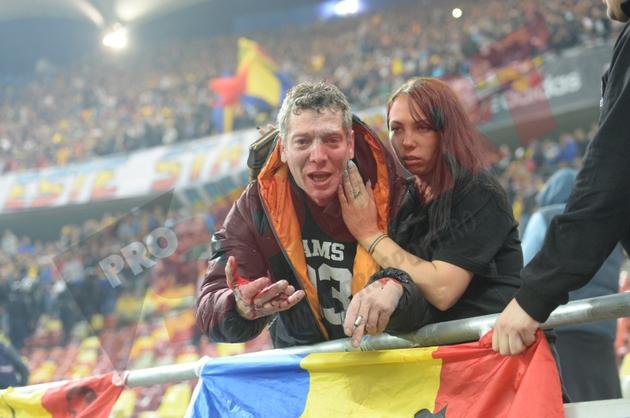 """Un fan al lui """"U"""" Cluj a fost bătut de oamenii de ordine de la BGS la meciul cu Ungaria"""