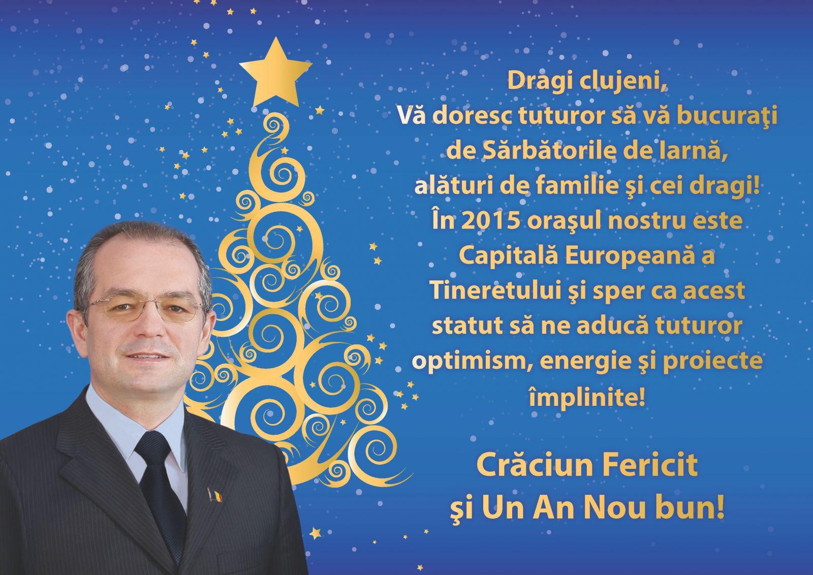 Mesajul primarului Emil Boc de sărbători pentru clujeni