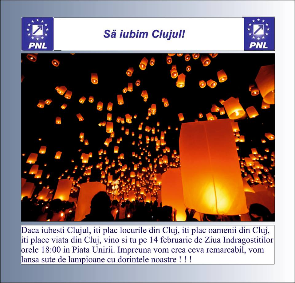 sa iubim clujul lansare lampioane 14 feb piata unirii
