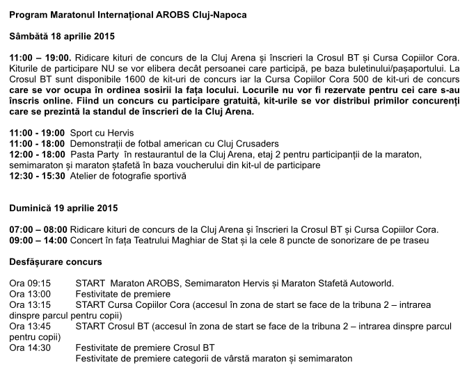program maraton international arobs cluj