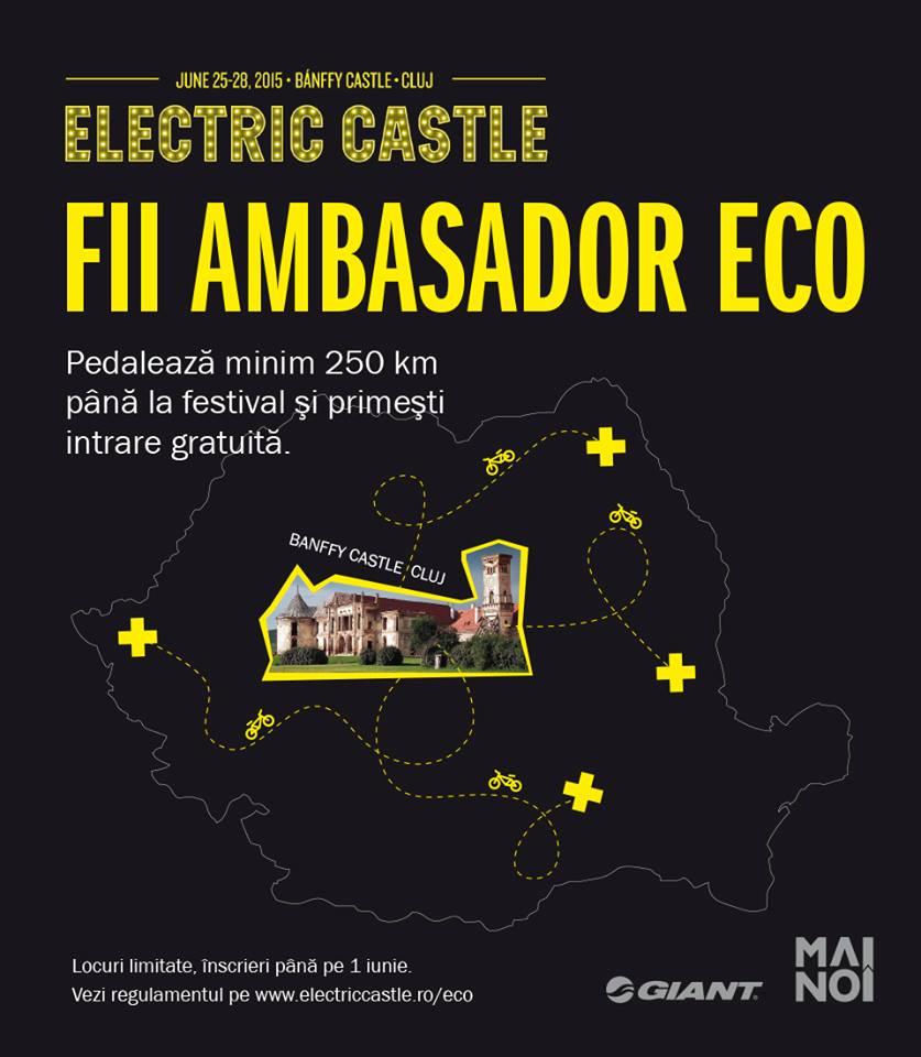 Fii ambasador ECO la Electric Castle! Vii cu bicicleta la festival, ai intrare gratuită!