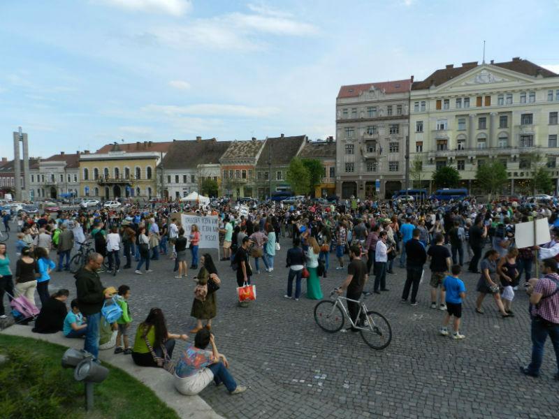protest piata unirii impotriva defrisari ilegale 9 mai 2015