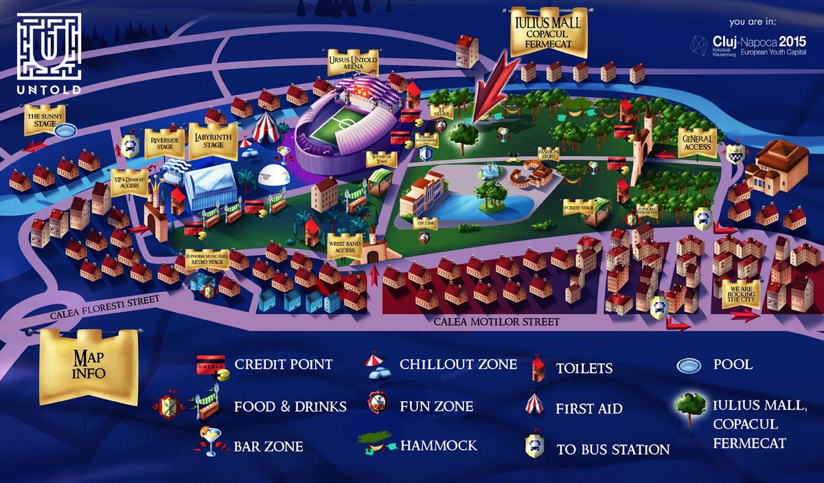 Harta Festivalul Untold - chill zone Copacul Fermecat Iulius Mall