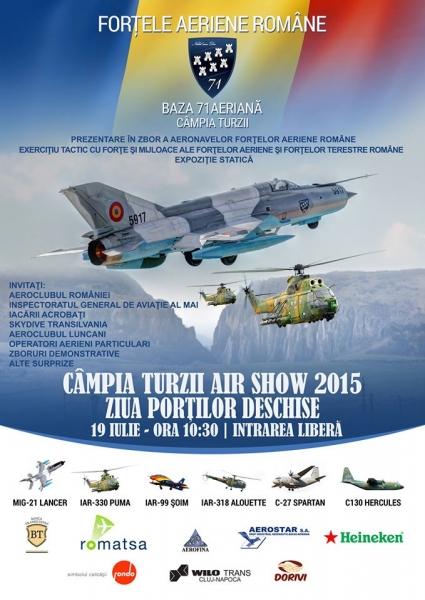 Spectacol aviatic la Câmpia Turzii, duminică, 19 iulie