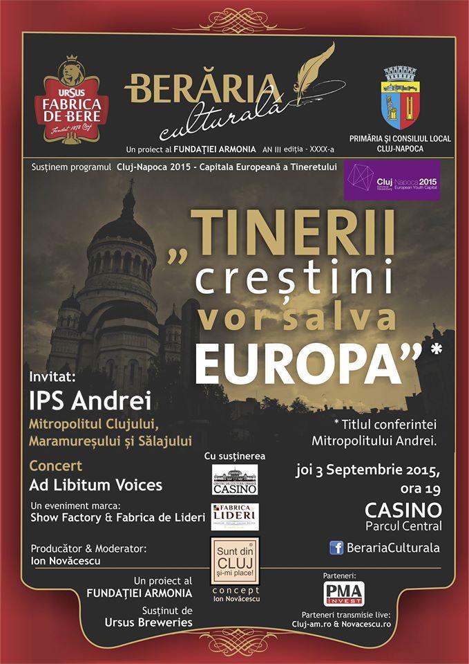 Mitropolitul Clujului vine la Berăria Culturală, pe 3 septembrie