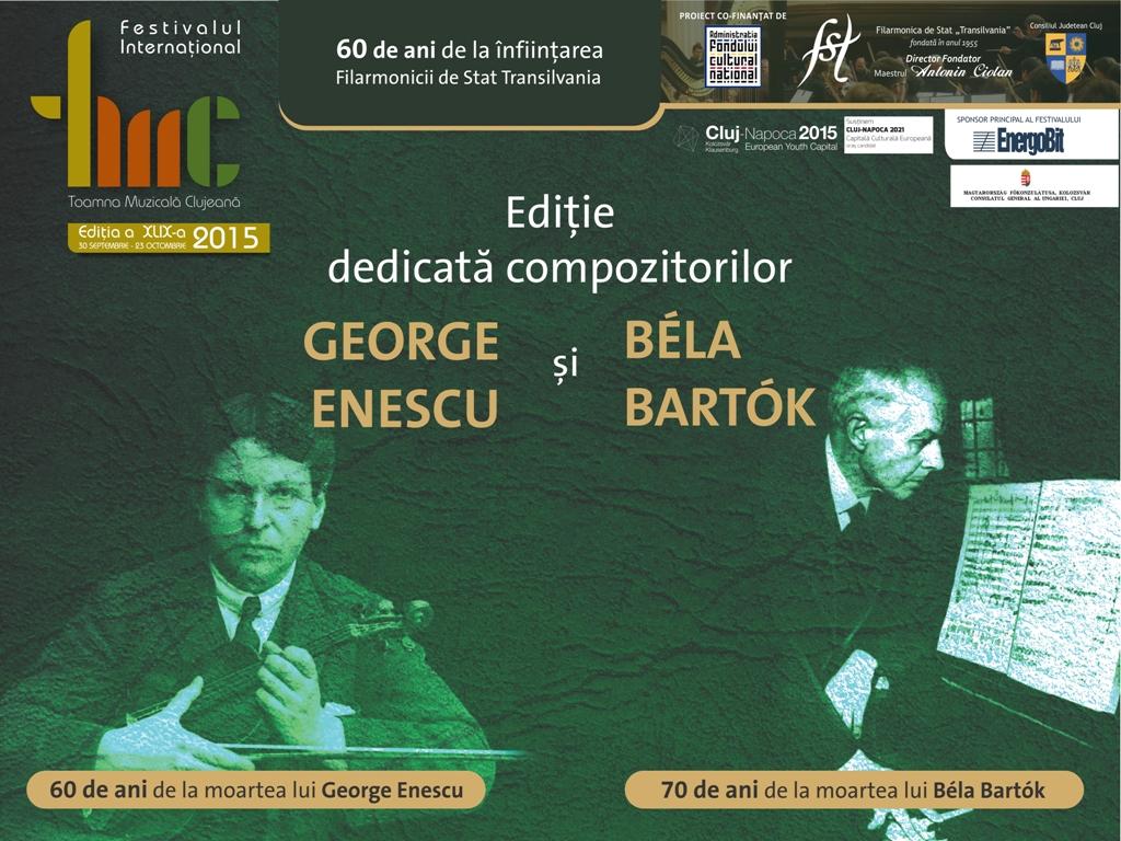 Concert simfonic de deschidere a celei de a 49-a ediții a Festivalului Toamna Muzicală Clujeană! Ediție dedicată compozitorilor George Enescu si Bela Bartok