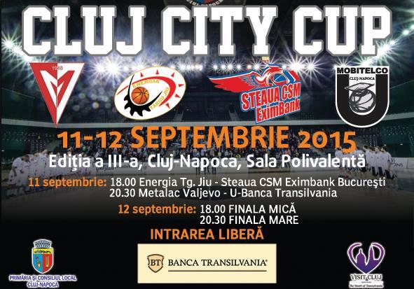 """Programul turneului amical de baschet masculin """"Cluj City Cup"""" de la Sala Polivalentă"""