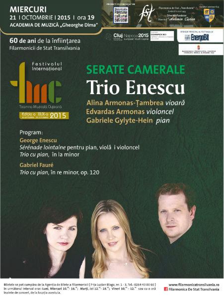 Trio Enescu şi concert de muzică tradiţională românească la Toamna Muzicală Clujeană