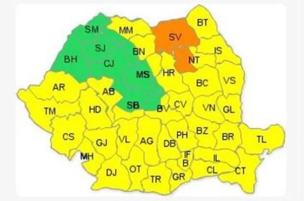 Cod portocaliu de ninsoare și viscol în două județe ale țării! Cod galben de ploi în restul țării!