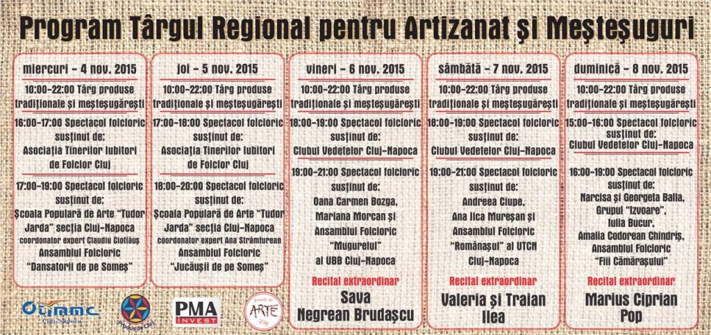PROGRAM -  Târgul Regional pentru Artizanat și Meștesuguri