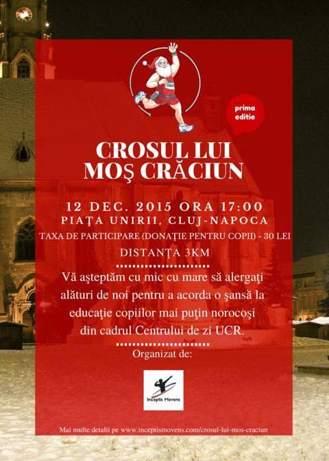 """""""Crosul lui Moș Crăciun"""", ediție în scop caritabil, 12 decembrie, Piața Unirii!"""
