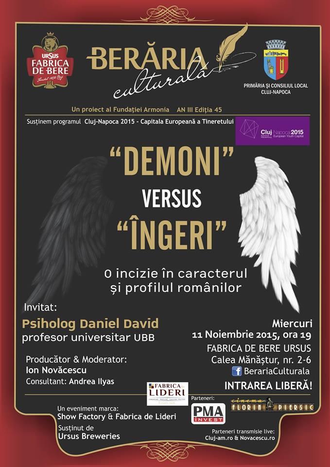 """Dezbatere despre """"Demoni vs Îngeri"""", cu psihologul Daniel David, la Berăria Culturală!"""