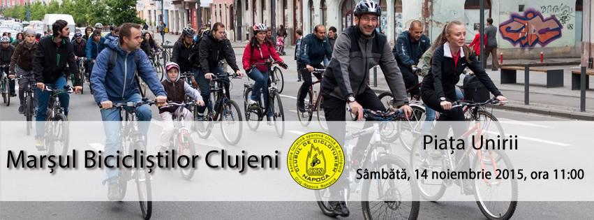 Marșul Bicicliștilor Clujeni, sâmbătă, 14 noiembrie, în Piața Unirii