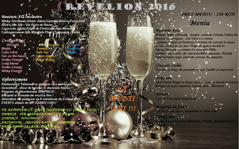 restaurant talisman cluj revelion 2016