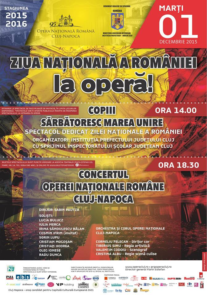 ziua nationala a romaniei la opera 1 decembrie 2015 cluj