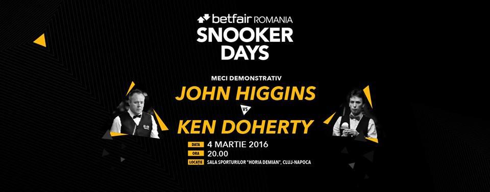 """Meci demonstrativ de snooker la Sala Sporturilor """"Horia Demian"""", între John Higgins și Ken Doherty"""