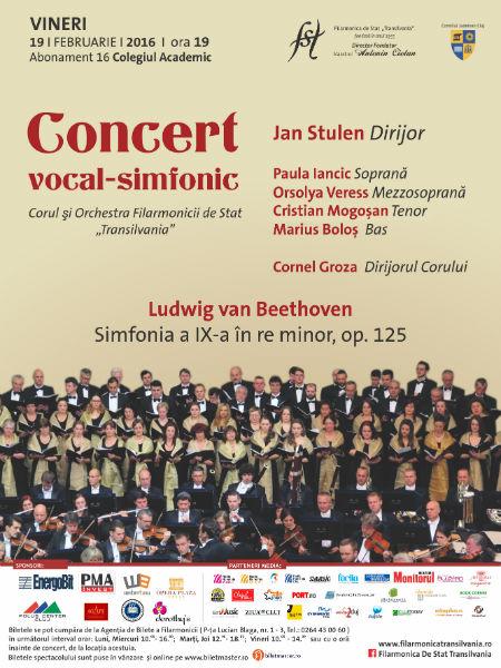 "Concert vocal-simfonic extraordinar sub bagheta dirijorului Jan Stulen! Simfonia a 9-a de Beethoven, a Filarmonicii de Stat ""Transilvania"""