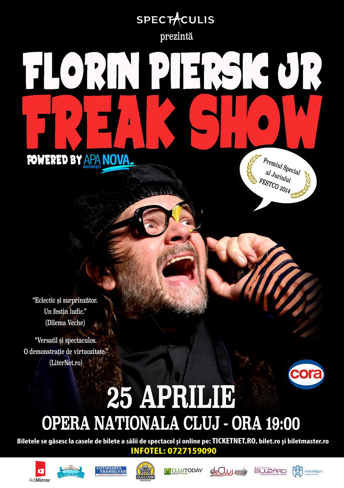 """One-man-show Florin Piersic jr. revine pe scena Operei Naționale din Cluj, in spectacolul """"Freak Show"""""""