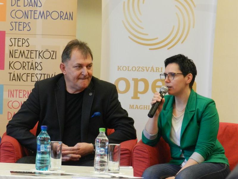 Directorul Companiei de Balet din Gyor, Kiss Janos, alături de directorul festivalului STEPS, Aranka