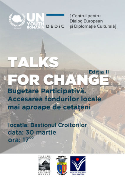 Talks for Change: Bugetarea participativă în Cluj-Napoca. Accesarea fondurilor locale mai aproape de cetățeni