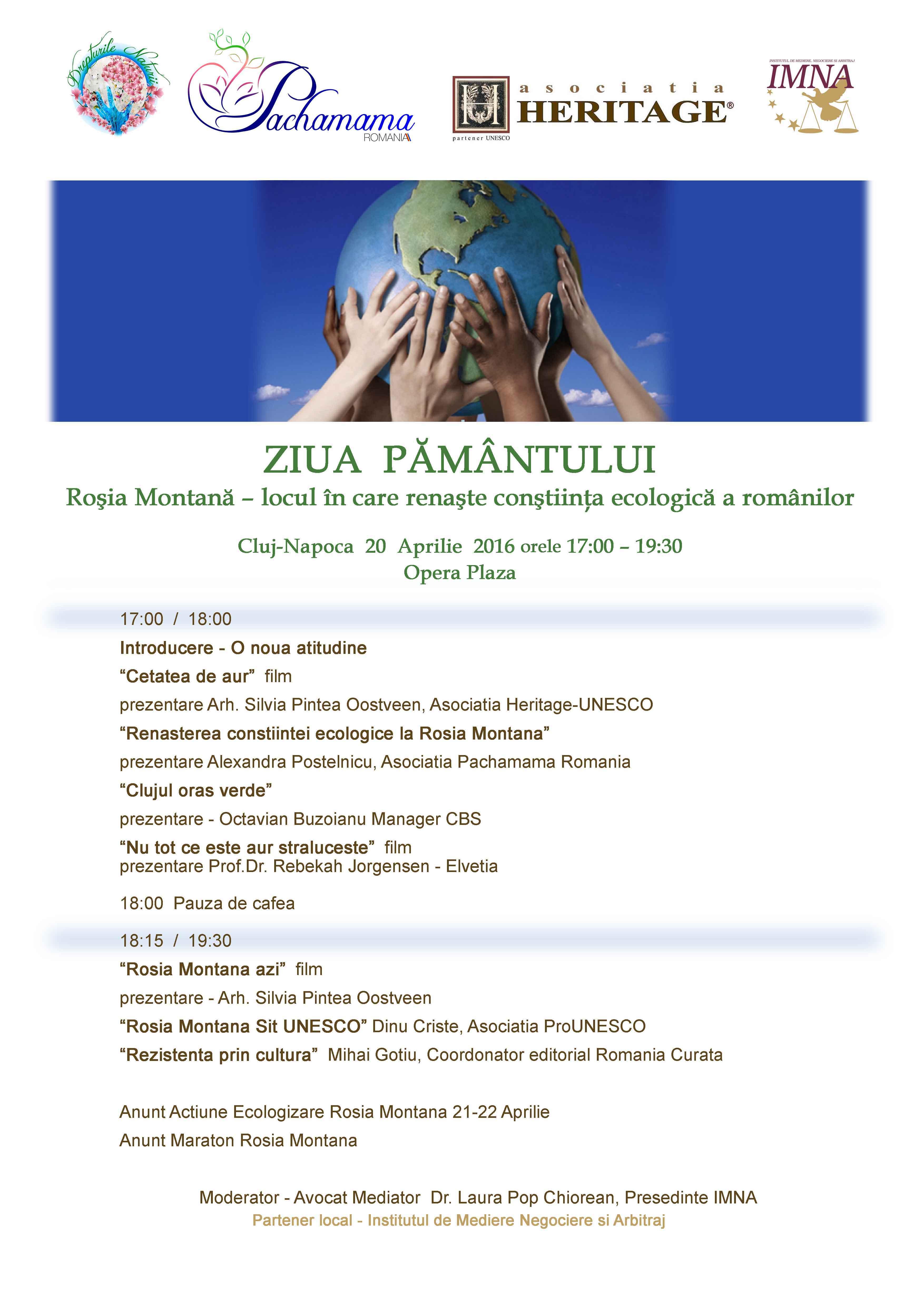 Ziua Pământului, marcată la Cluj-Napoca cu o dezbatere despre Roşia Montană – locul în care renaşte conştiinţa ecologică a românilor