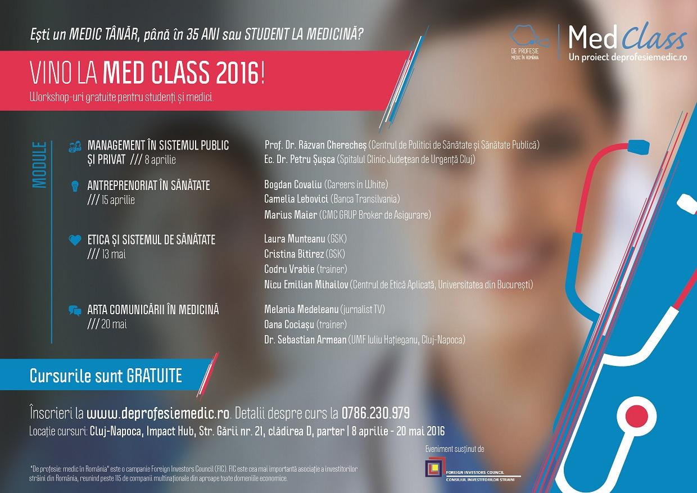 Încep cursurile gratuite MedClass 2016 organizate de Consiliul Investitorilor Străini pentru tinerii medici din România și studenții la Medicină