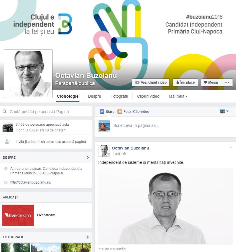 """Octavian Buzoianu a pierdut deja alegerile in online! Doar 3469 de fani are candidatul """"independent"""" sustinut de cinci partide la primaria Clujului!"""
