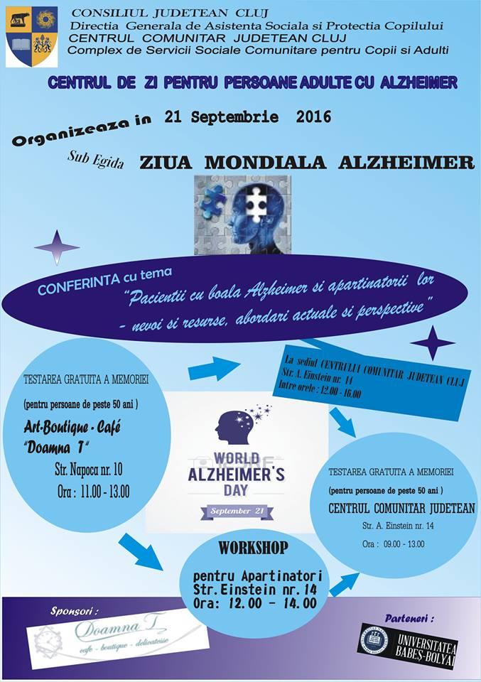 Zilele Mondiale Alzheimer marcate la Cluj-Napoca prin manifestări specifice