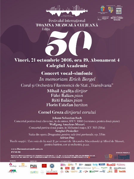 Toamna Muzicală Clujeană, ediția a 50-a: Concert vocal-simfonic in memoriam Erich Bergel