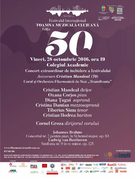 Închiderea celei de-a 50-a ediţii a festivalului Toamna Muzicală Clujeană – Concert extraordinar sub bagheta dirijorului Cristian Mandeal