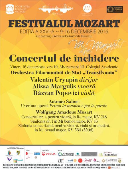 Concertul de închidere a ediției XXVI-a a Festivalului Mozart are loc vineri, 16 decembrie
