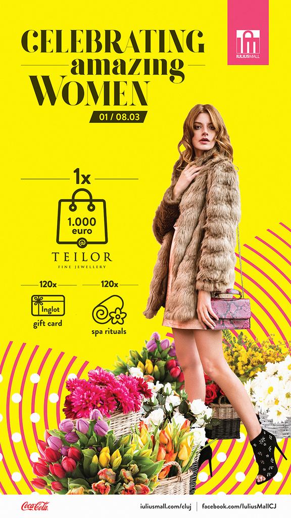 Iulius Mall Cluj le premiaza pe femei, de ziua lor: bijuterii de 1000 de euro si sute de alte cadouri de rasfat! (P)