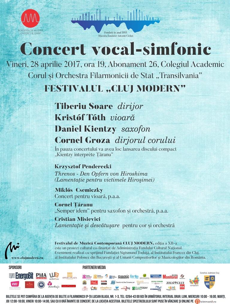 Concert vocal-simfonic în cadrul festivalului Cluj Modern