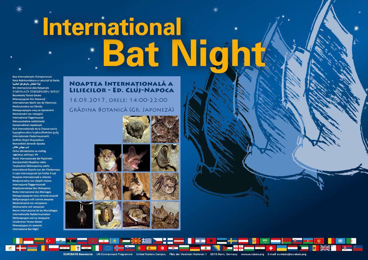 Noaptea Internațională a Liliecilor, in 16 septembrie, la Gradina Botanica din Cluj