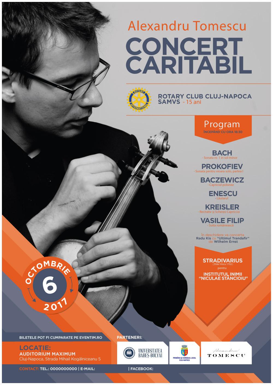 Violonistul Alexandru Tomescu concertează pentru Institutul Inimii din Cluj
