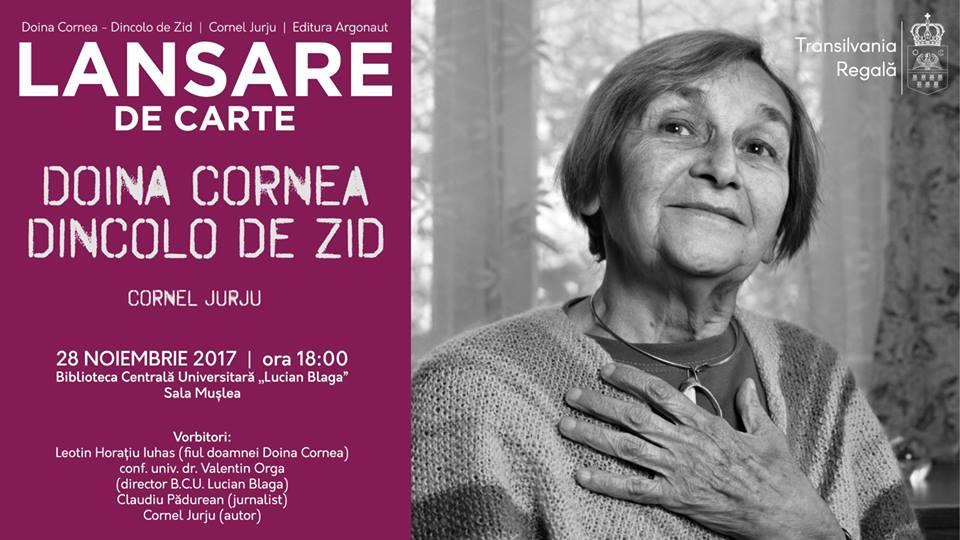 """""""Doina Cornea – Dincolo de zid"""", lansare la BCU"""