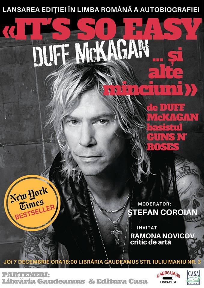 """Lansarea cărţii """"It's so easy şi alte minciuni"""", Duff McKagan, basistul trupei Guns N'Roses"""