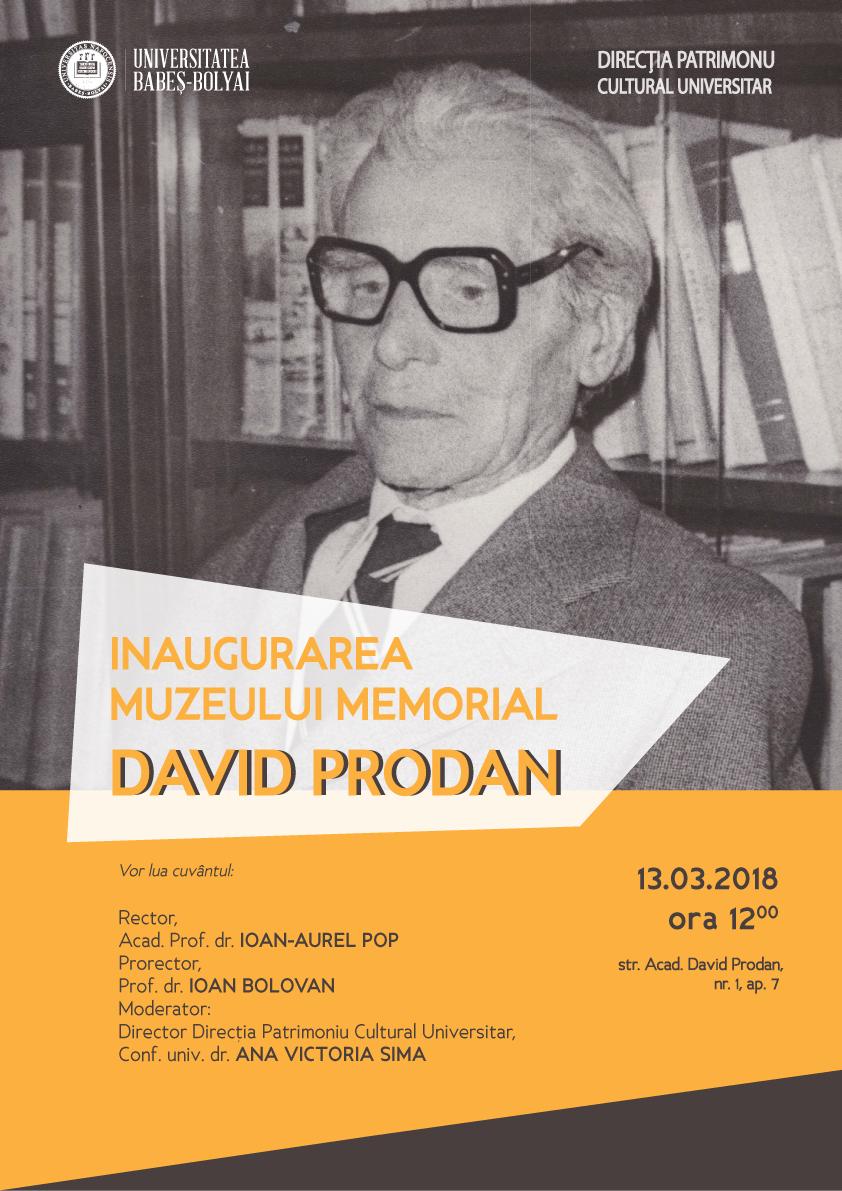 Muzeul memorial David Prodan, inaugurat marţi de UBB Cluj