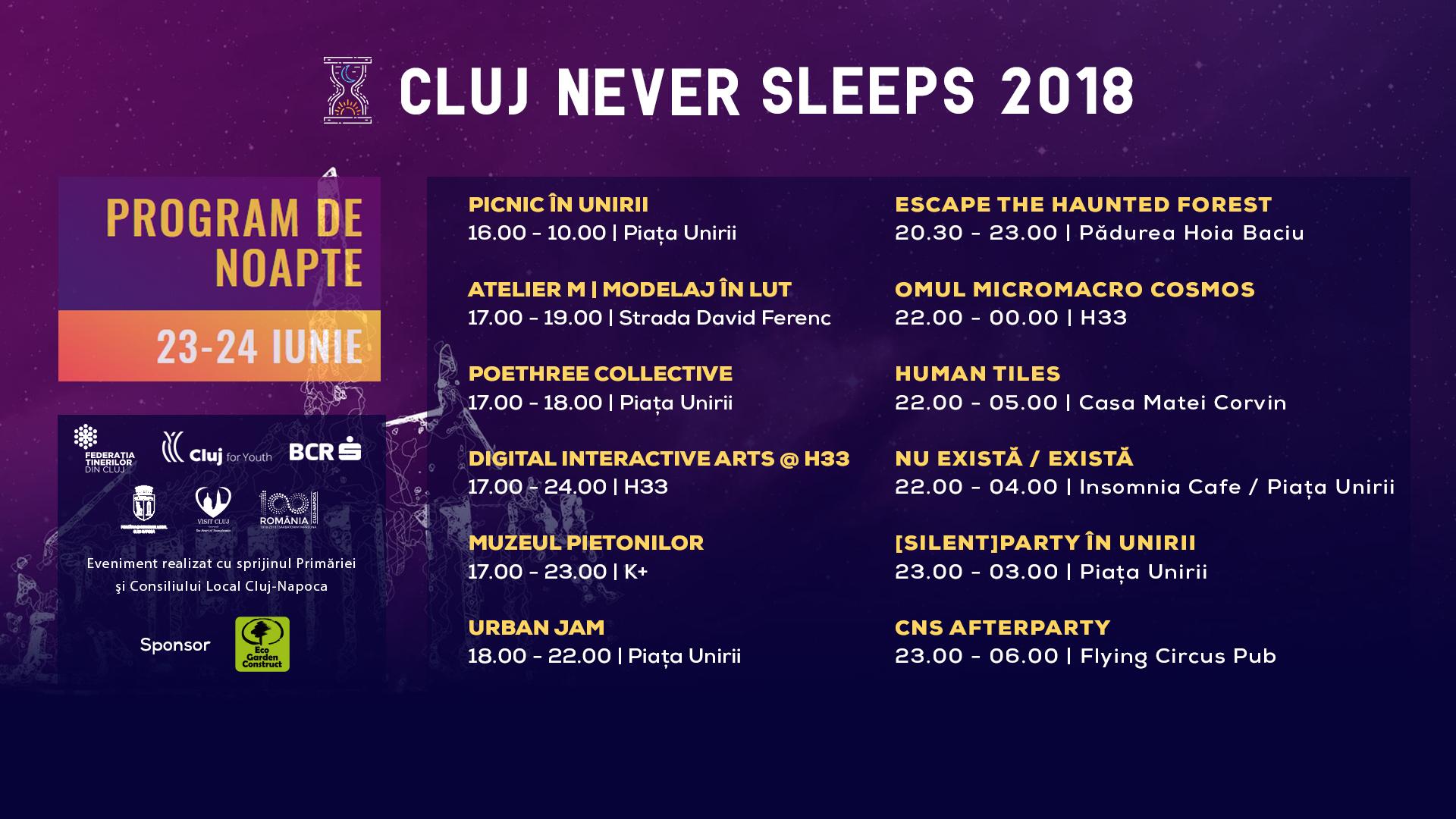 """Maraton de evenimente în """"noaptea altă"""" a culturii, la Cluj Never Sleeps!"""