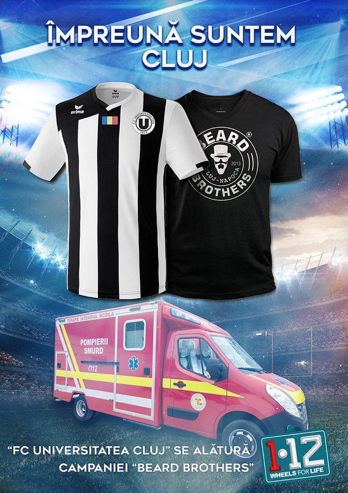 """""""U"""" Cluj sprijină campania iniţiată de Beard Brothers pentru achiziţia unei ambulanţe pentru SMURD Cluj şi donează 1 leu pentru fiecare bilet vândut"""