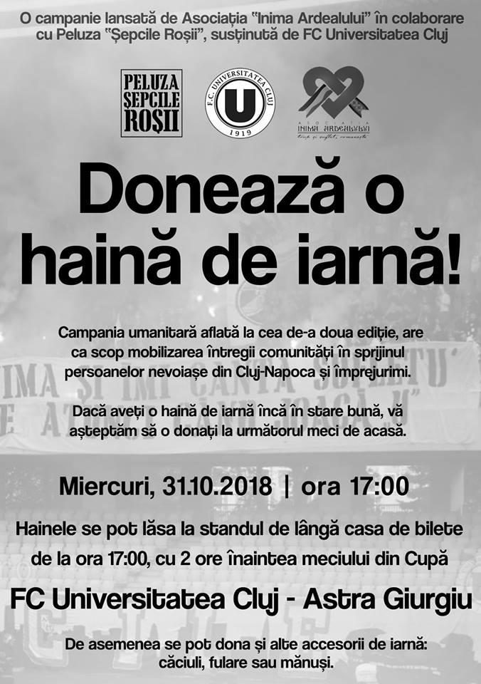 Fanii Universității Cluj strâng haine pentru oamenii nevoiași!